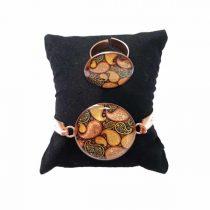 دستبند و انگشتر مسی طرح سنتی
