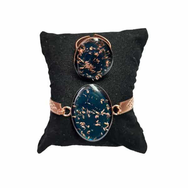 ست جواهرات مسی طرح بیضی آبی