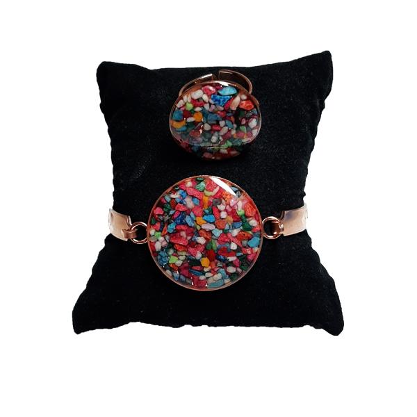 دستبند و انگشتر مسی طرح دایره سنگ هفت رنگ