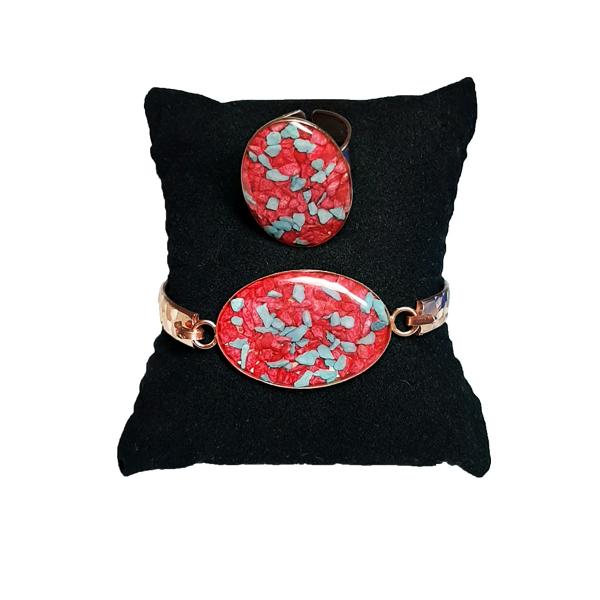 دستبند و انگشتر مسی طرح بیضی قرمز و سفید