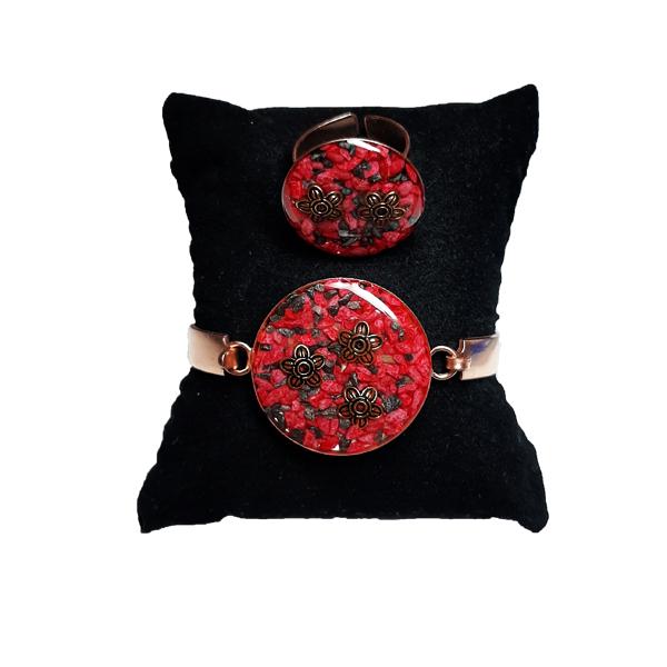 دستبند و انگشتر مسی طرح گل قرمز