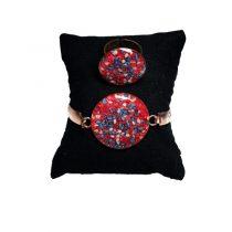 دستبند و انگشتر مسی طرح دایره سنگ رنگی