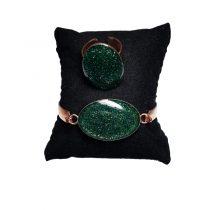 دستبند و انگشتر مسی بیضی سبز کبود اکلیلی