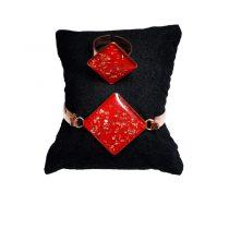 دستبند و انگشتر مسی طرح لوزی قرمز روشن