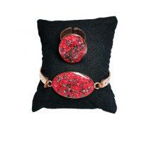 دستبند و انگشتر مسی طرح بیضی قرمز و مشکی