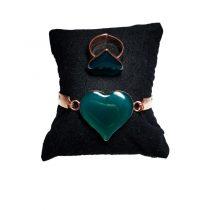 دستبند و انگشتر مسی طرح قلب سبز کبود