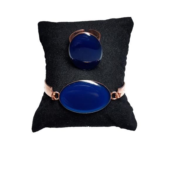 دستبند و انگشتر مسی طرح بیضی آبی