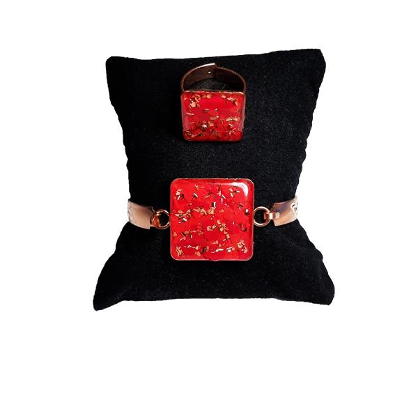 دستبند و انگشتر مسی طرح مربع قرمز