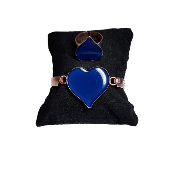 دستبند و انگشتر مسی طرح قلب آبی