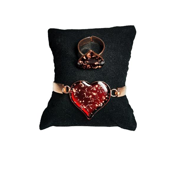دستبند و انگشتر مسی طرح قلب قرمز کبود