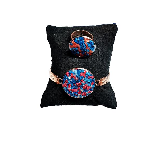 دستبند و انگشتر مسی طرح سنگ قرمز و آبی