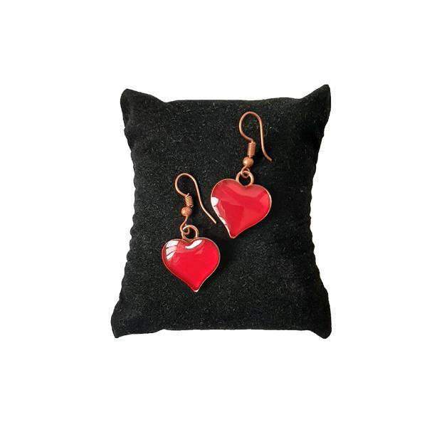 ست جواهرات مسی طرح قلب قرمز روشن