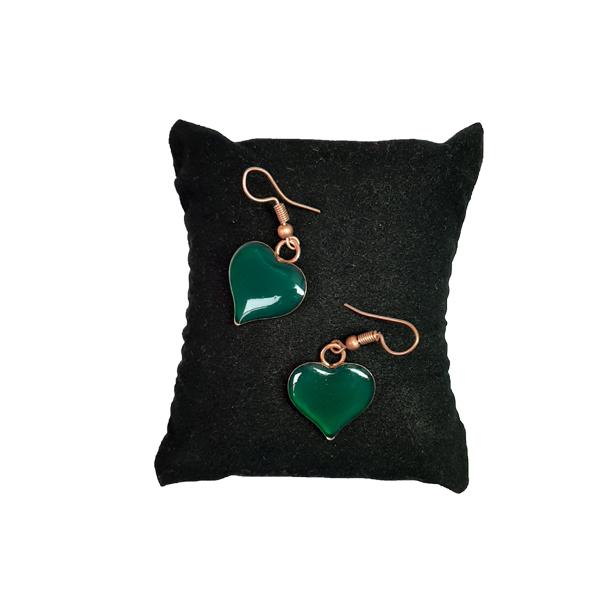 ست جواهرات مسی طرح قلب سبز