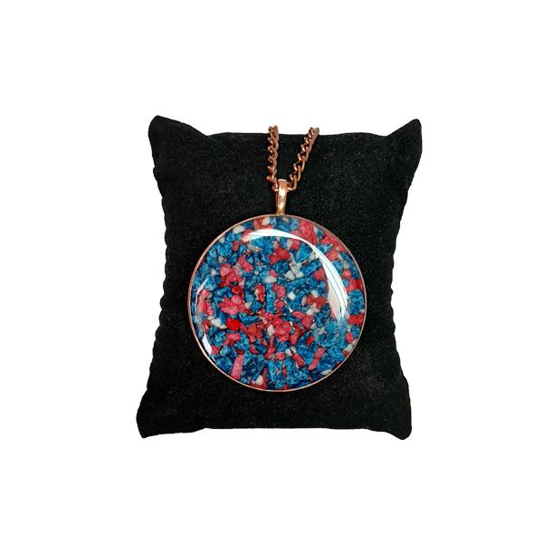 ست جواهرات مسی طرح دایره آبی و قرمز