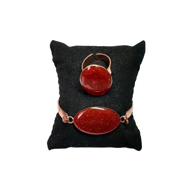 ست جواهرات مسی طرح بیضی قرمز اکلیلی