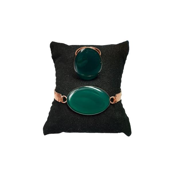 ست جواهرات مسی طرح بیضی سبز کبود